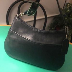 Coach Small Black Leather Zippered Shoulder Bag